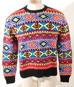 Polo Ralph Lauren Indian Hand Knit Neon Fair Isle Wool Ski Sweater ...