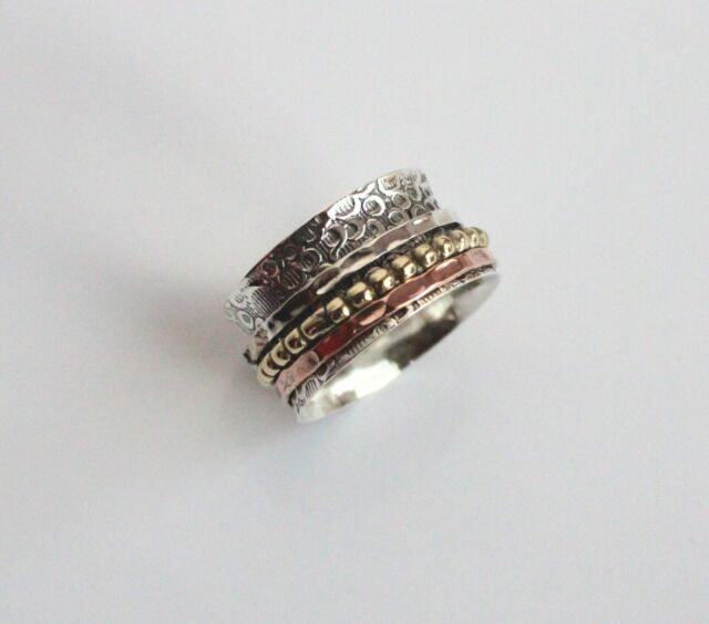 Good Quality Solid 925 Sterling Silver Wide Band /& Copper Spinner Ring Jewelry Handmade Free Shipping All US Size