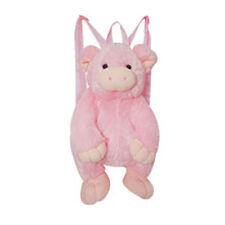 "Kids Girls Plush Farm Animal Pink Piggy Pig 14"" Backpack Travel Bag Doll Toy NEW"