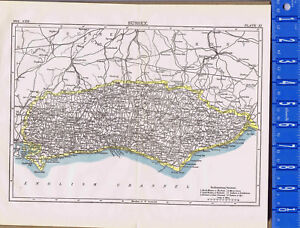 County Of Sussex In England Map Print 1907 Ebay