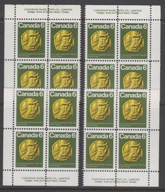 CANADA #531 6¢ Sir Donald Alexander Smith Match Set Plate Blocks MNH