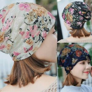 Women-India-Muslim-Stretch-Turban-Hat-Lace-Hair-Print-Loss-Head-Scarf-Wrap-UK