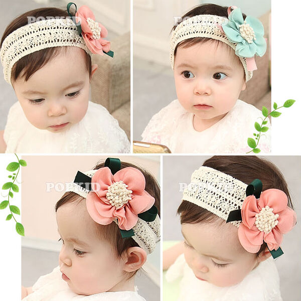 Newborn Infant Baby Girls Lace Flower Headband Elastic Hair Band Hair Headwear