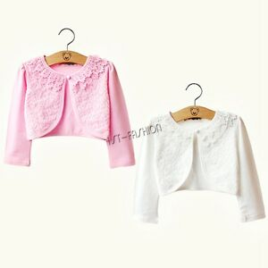 bafcb49479a Toddler Kid Girl Long Sleeve Lace Flower Bolero Cardigan Shrug ...