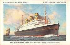 Holland America Line TSS Statendam Steamship Antique Postcard J67955