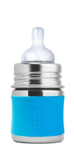 Pura Kiki® 5oz Infant Bottle-Natural with Aqua Silicone Sleeve