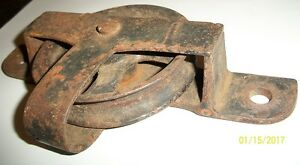 EARLY CAST IRON BARN DOOR ROLLER WHEEL, BEAM PULLEY | eBay