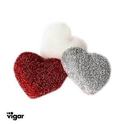 silber Glamour pur 3x PUTZSCHWAMM Vigar LULU HERZ rot weiß glitzernd süss