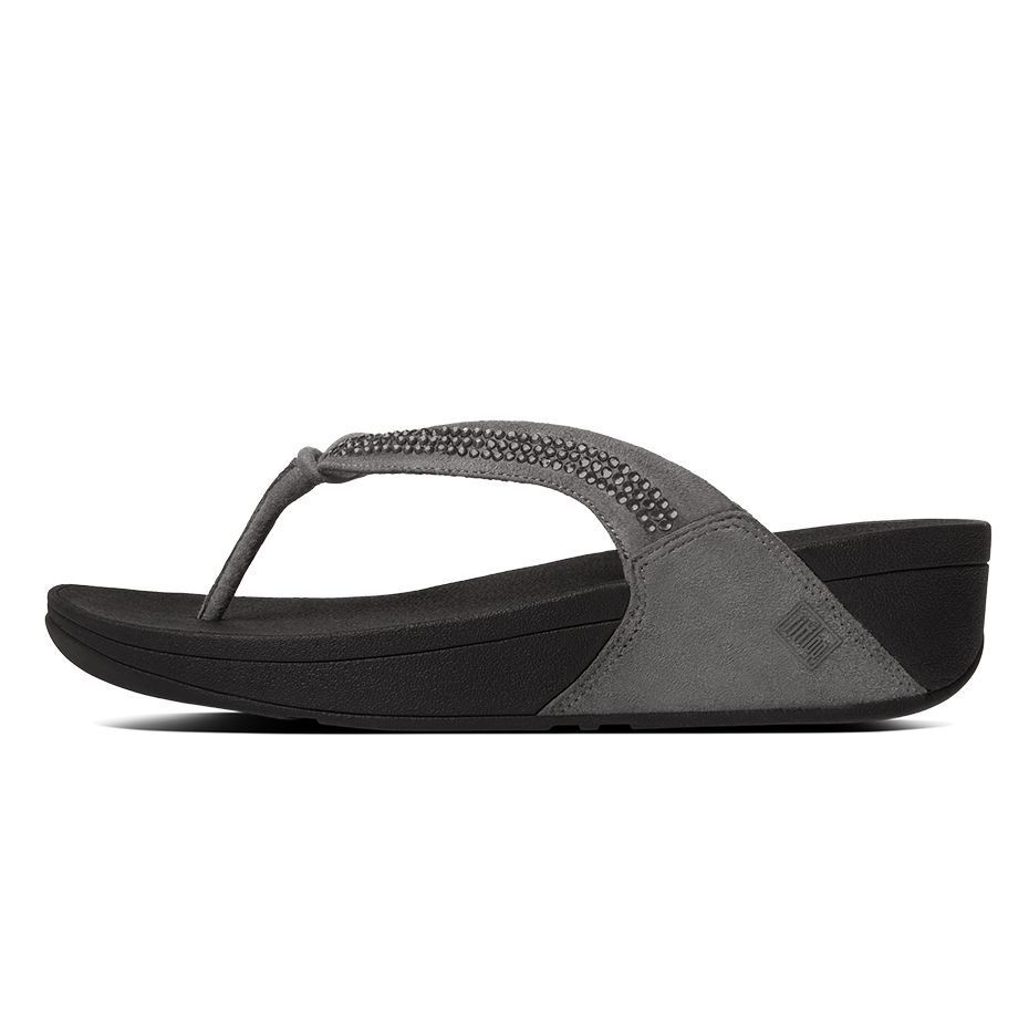 NEW WMNS FITFLOP CRYSTAL SWIRL PEWTER TOE THONG SANDAL C30-054 MSRP100.00