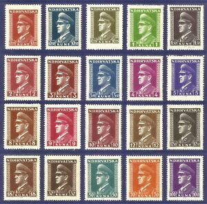 DR Nazi Croatia Rare WWII 1943 -44 MNH Full Set Pavelich Dictator Service Stamps