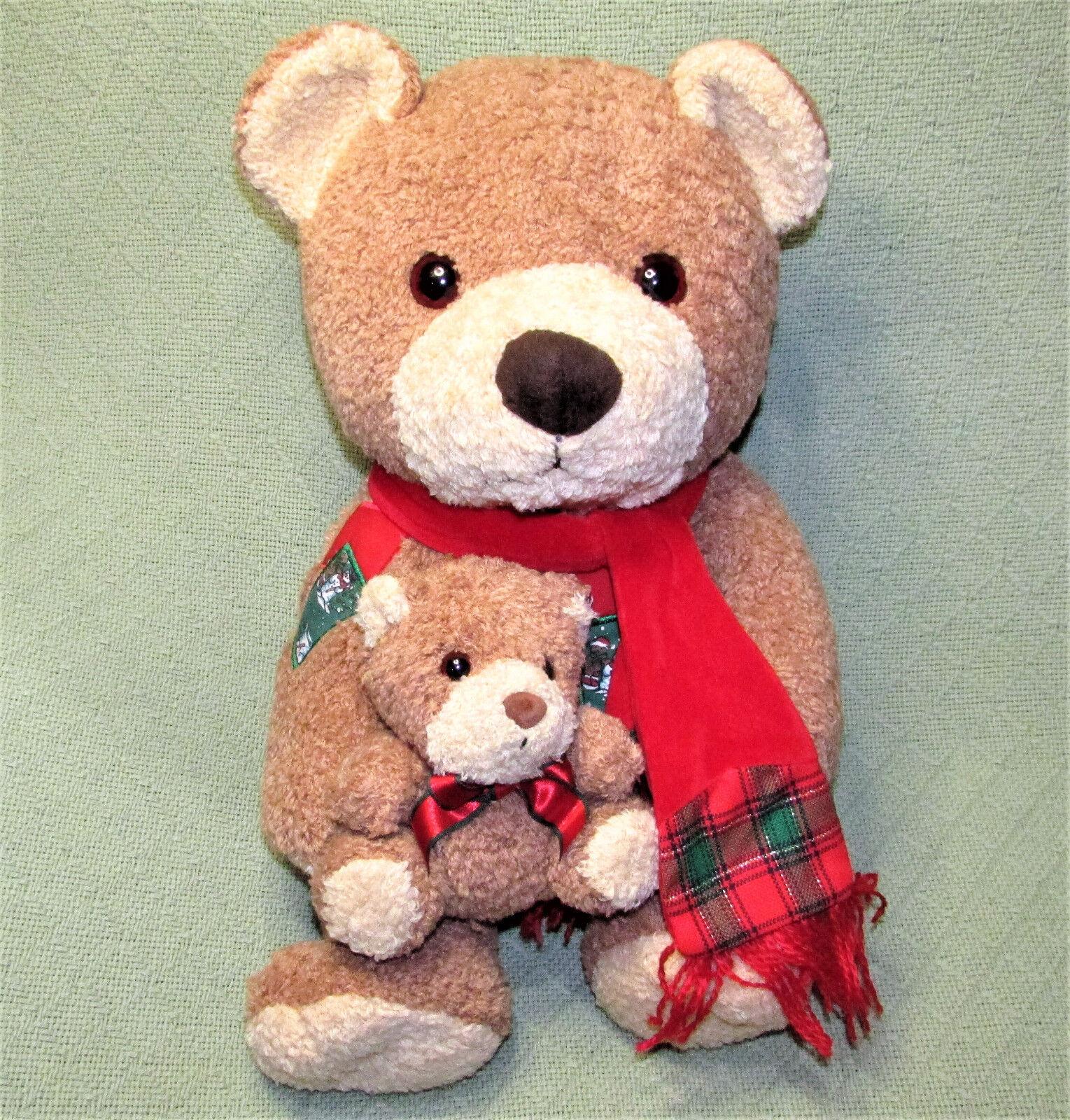 16  1999 Kids Preferred TEDDY BEAR + BABY CUB Patch RED SCARF Vintage Plush Toy