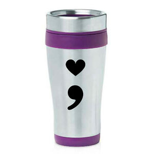Stainless Steel Insulated 16 oz Travel Coffee Mug Cup Heart Semicolon