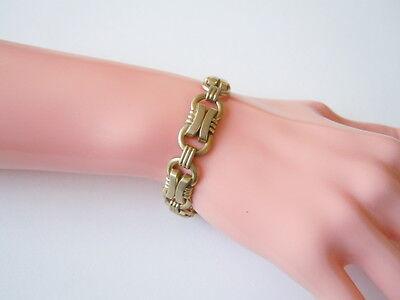 GroßZüGig Altes Vergoldetes Oresto Vintage Armband 17,8 G / Länge 18,5 Cm Jade Weiß