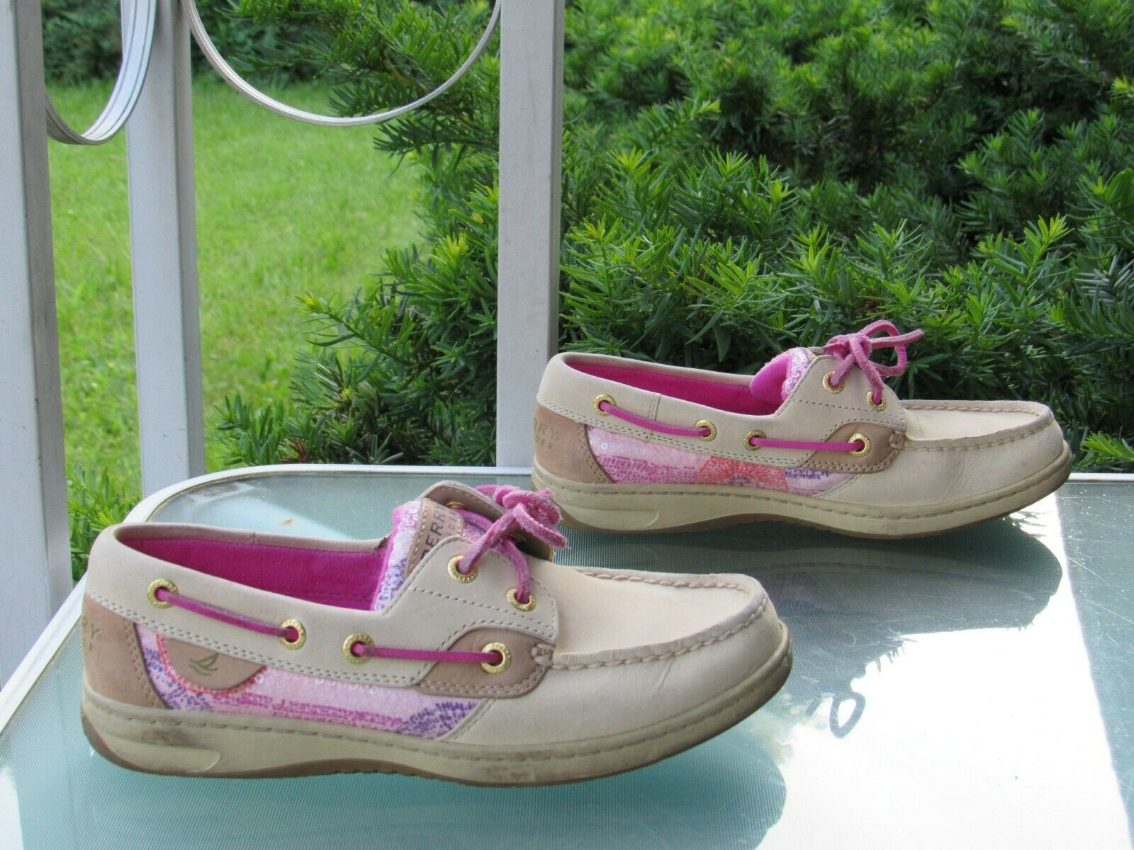 SPERRY Top-Sider Womens size 5.5 Beige Leather Boat Loafers Comfort Shoes