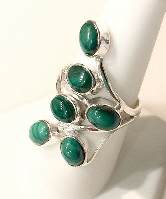 Unique And Artsy Malachite Sterling Silver Ring 7.2g Size 8.5