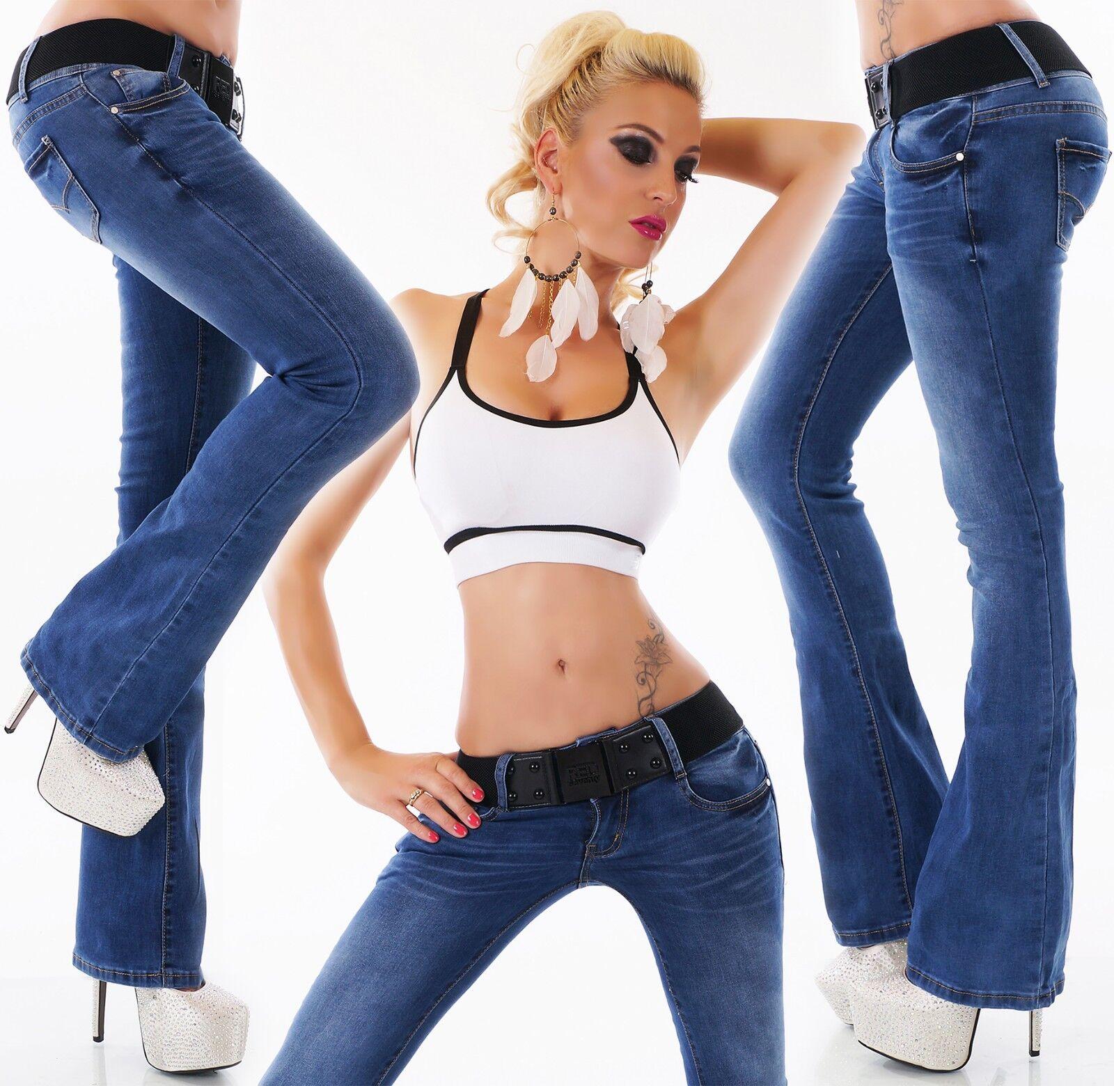 women Svasati Anca Jeans Pantaloni Scossa a Vita Bassa Cintura Xs S M L XL