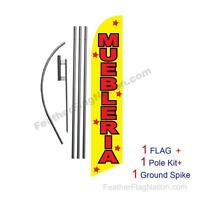 Muebleria 15ft Feather Banner Swooper Flag Kit With Pole+spike