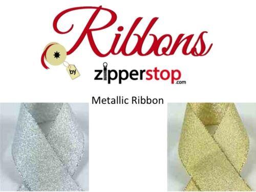"Gold or Silver 10 or 50 yards 7//8/"" Metallic Ribbon Gift Wrap//Packaging"