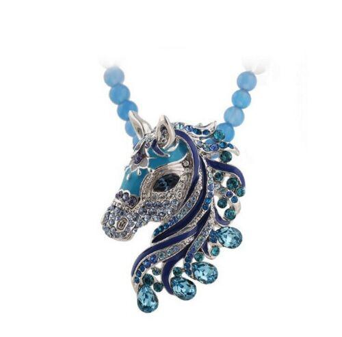 Perlenkette Pferdekopf geschmückt Strass Fastnacht blau Halskette Anhänger Stute