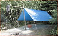 Emergency Tarp + Space Blanket + Space Sleeping Bag + 75' Nylon Cord 95 Lb Test