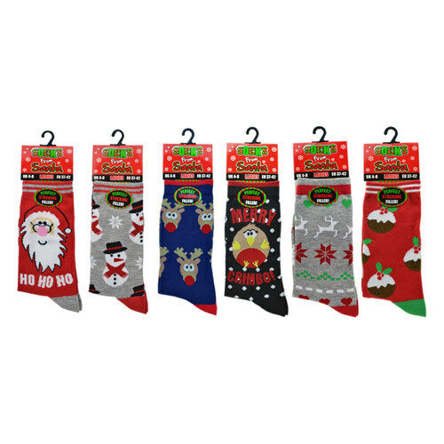 Womens Girls Boys Unisex Novelty Christmas Socks Xmas Funny Snowman Reindeer 4-7