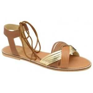 Ladies-Ravel-Navarro-Gold-Tan-Leather-Flat-Summer-Beach-Dress-Sandals-UK-4