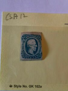 Confederate States 1860's CSA #12 Used Jefferson Davis Stamp Attic Find