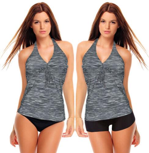 1382 A Femmes Push Up Tankini Set-Shorts O slip gris chiné Neuf Taille 36-48