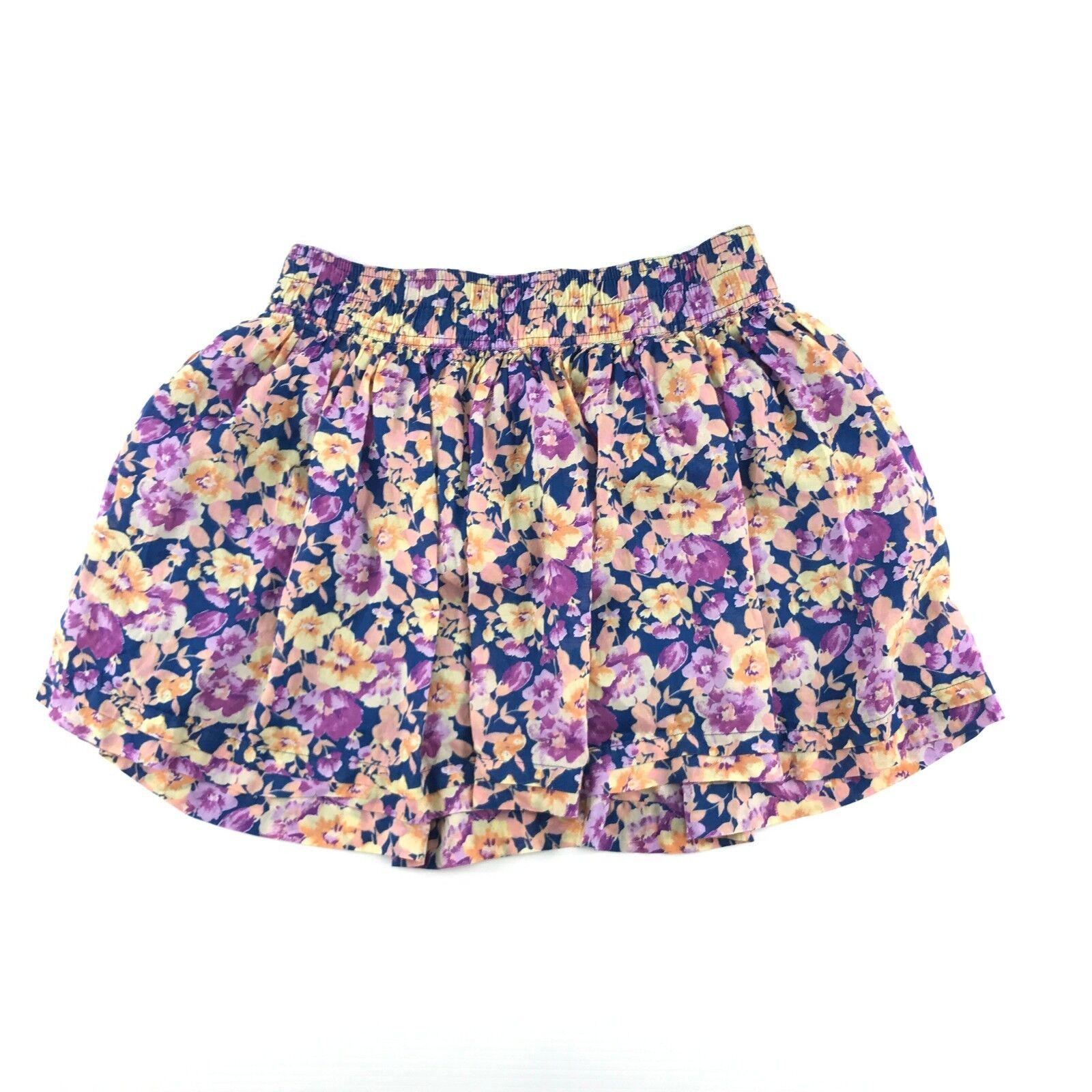 Forever 21 Womens bluee Floral Print Elastic Waist Lined Mini Skirt L
