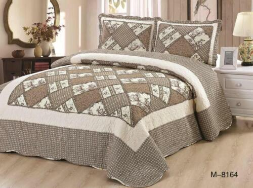 Patchwork Bedspread With 2 Pillow Shams Bedding Duvet Throw Quilted Double//King