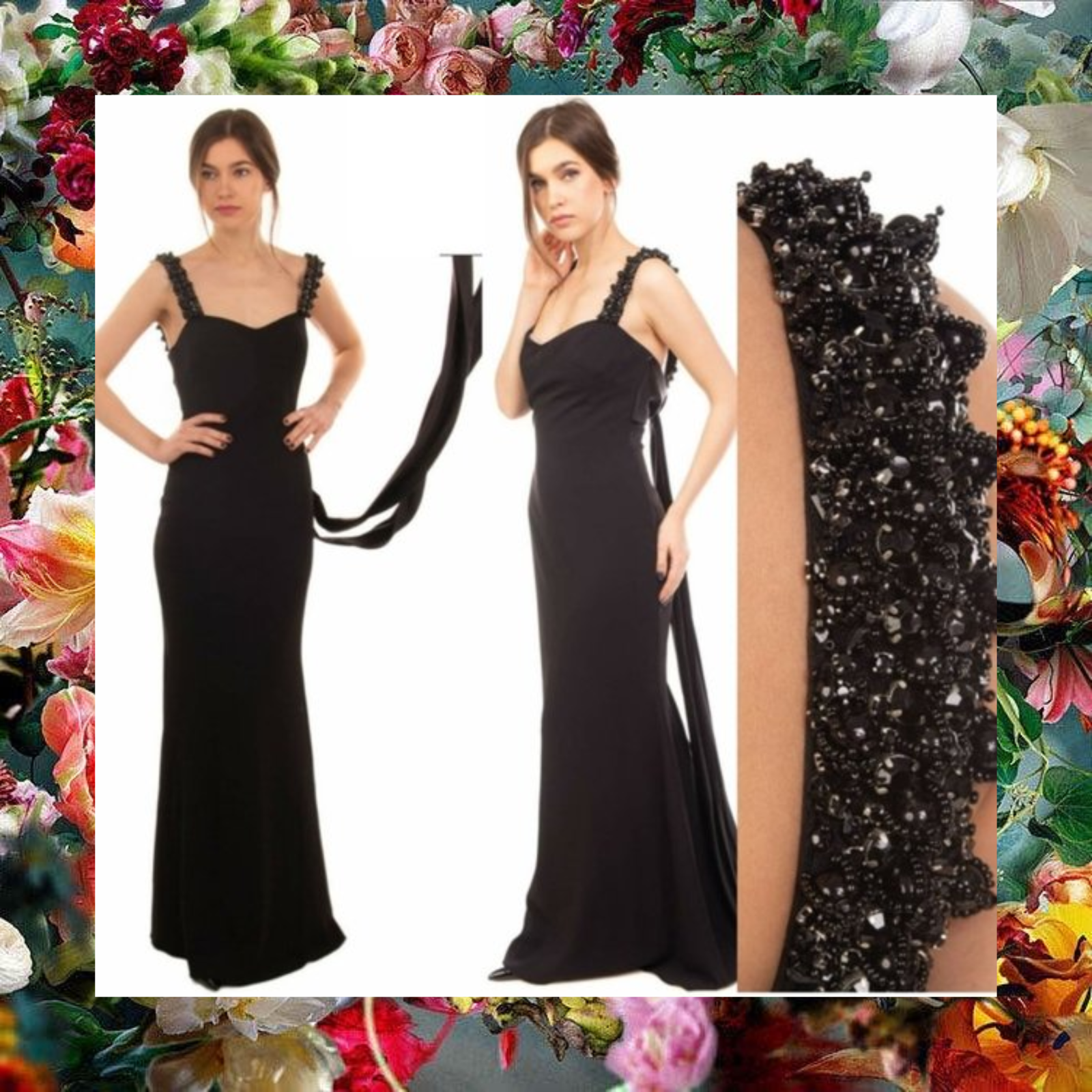 ,100 NWT BADGLEY MISCHKA Black Satin-trimmed Embellished Trumpet Gown 4 Small