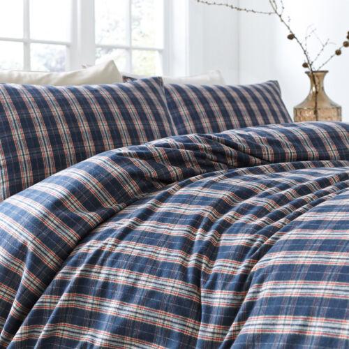 Highland Tartan Check 100/% Brushed Cotton Flannelette Duvet Cover Bedding Set