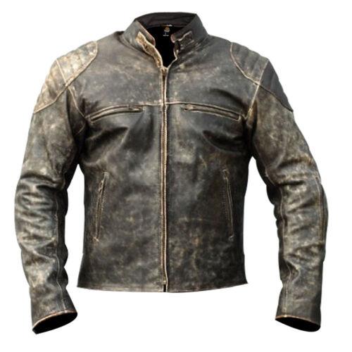 Para Hombre Negra Antiguo motocicleta de estilo vintage con aspecto envejecido Retro Chaqueta de cuero