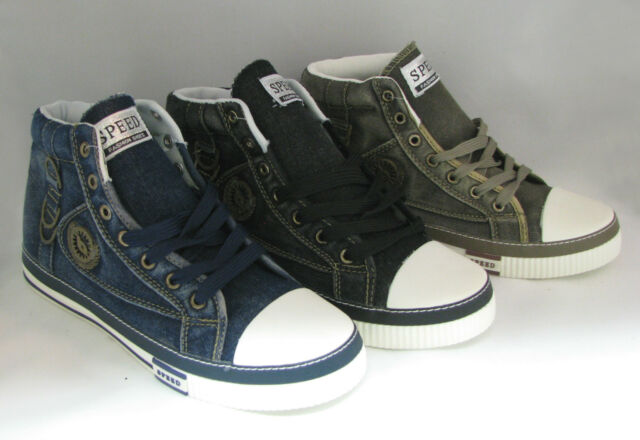 Mens Jeans Sneakers Casual Canvas Shoes High-Top Stone-Washed Boots Size: 6.5-12