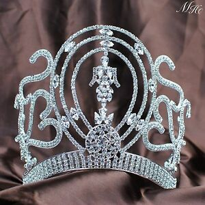 2158 Exquisite Rhinestones Wedding Bridal Pageant Queen Large Tiara Crown