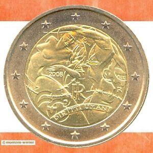 Sondermuenzen-Italien-2-Euro-Muenze-2008-Menschenrechte-Sondermuenze-Gedenkmuenze