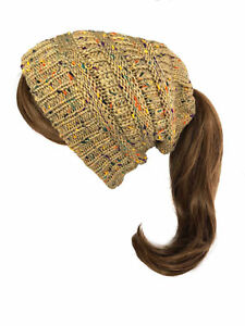 Women Winter Beanie Tail High Bun Ponytail Knit Beanie  Slouchy Hat Ski Cap New