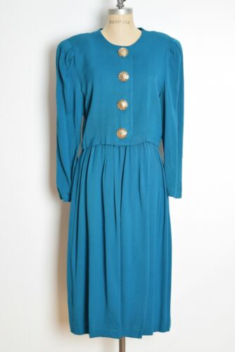 vintage 80s high waisted jacket skirt set teal cro