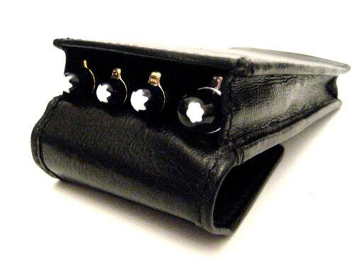 Black Real Leather Triple//Quadruple//four Magnetic Flap Pen Case//Pouch//Holder