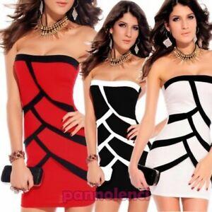 Mini-Dress-Evening-Sheath-Woman-Bicoloured-Minidress-New-Dl-682