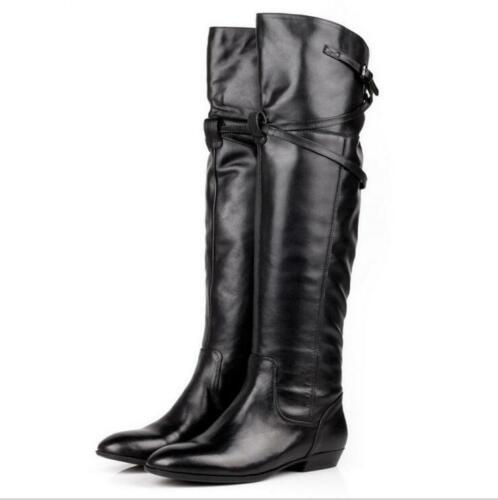 Details about  /Women Genuine Leather Over The Knee High Riding Boots Flat Heel Buckle Fur Boot