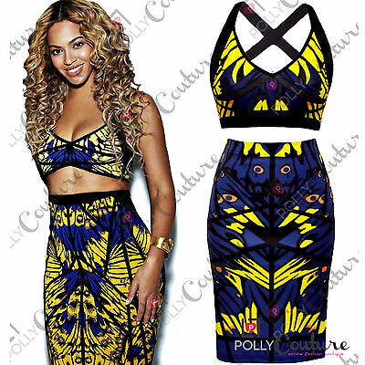 Womens Bandage Bodycon Two Piece Bralet Crop Top and Midi Skirt Ladies Dress Set