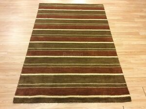 Image Is Loading Multi Colour Cream Brown Green Striped Handwoven Wool