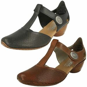 RIEKER-43730-LADIES-CLOSED-TOE-T-BAR-LEATHER-MID-HEEL-SMART-CASUAL-COURT-SHOES