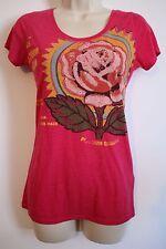 LUCKY BRAND Womens Pink Flower Rose Print Short Sleeve Shirt SMALL