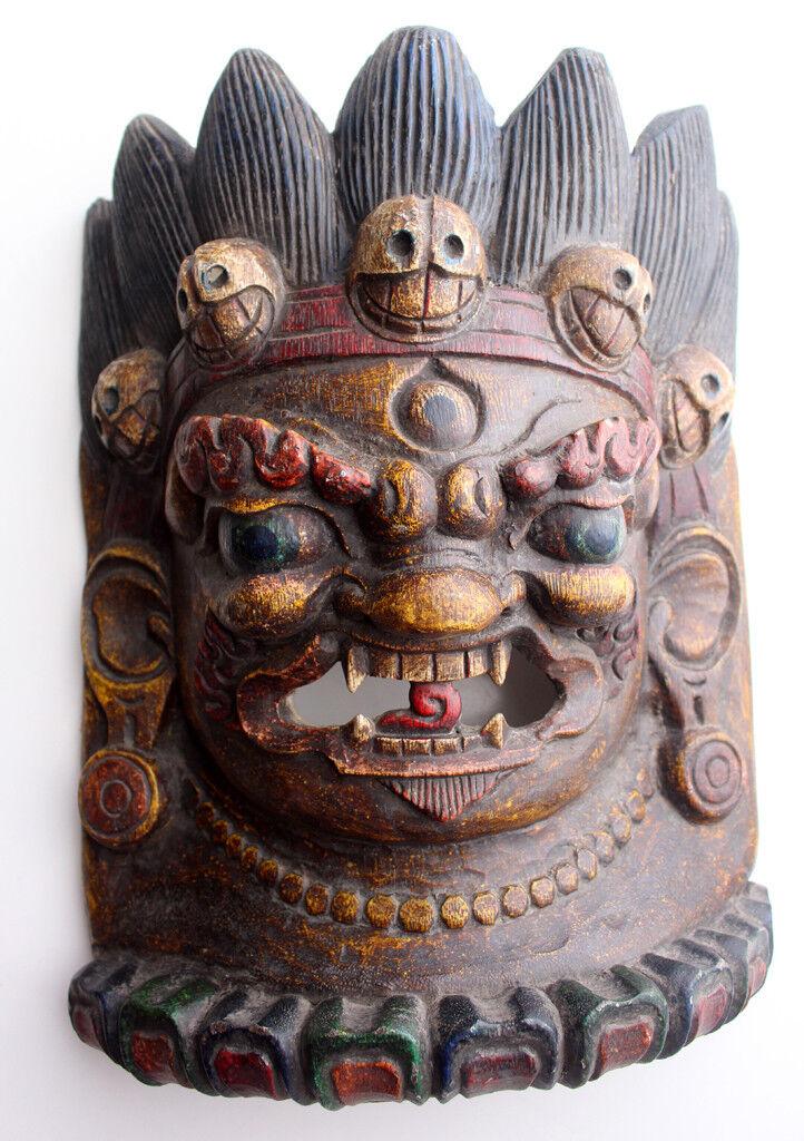 Mahakala Home Decor Wooden Wall Hanging Halloween Mask