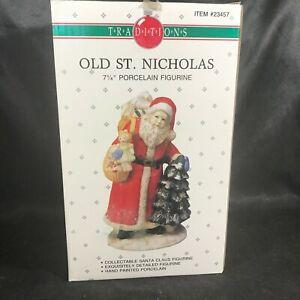 "Vintage Traditions Porcelain 7-1/4"" Old St Nicholas Figurine Original Box"