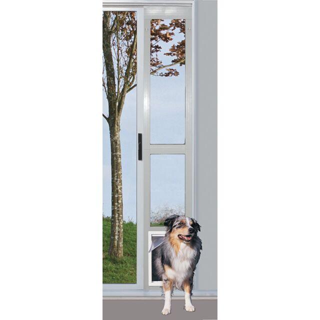 Dog Door Pet Modular Sliding Patio Aluminum Screen White Ex Large Xl