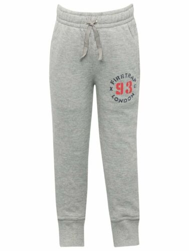 Firetrap Boys Junior Jogging Bottoms Grey 93 Logo Fleece Lined