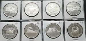 LOT-OF-8-CANADA-COMMEMORATIF-PROOF-SILVER-DOLLARS-1981-1988